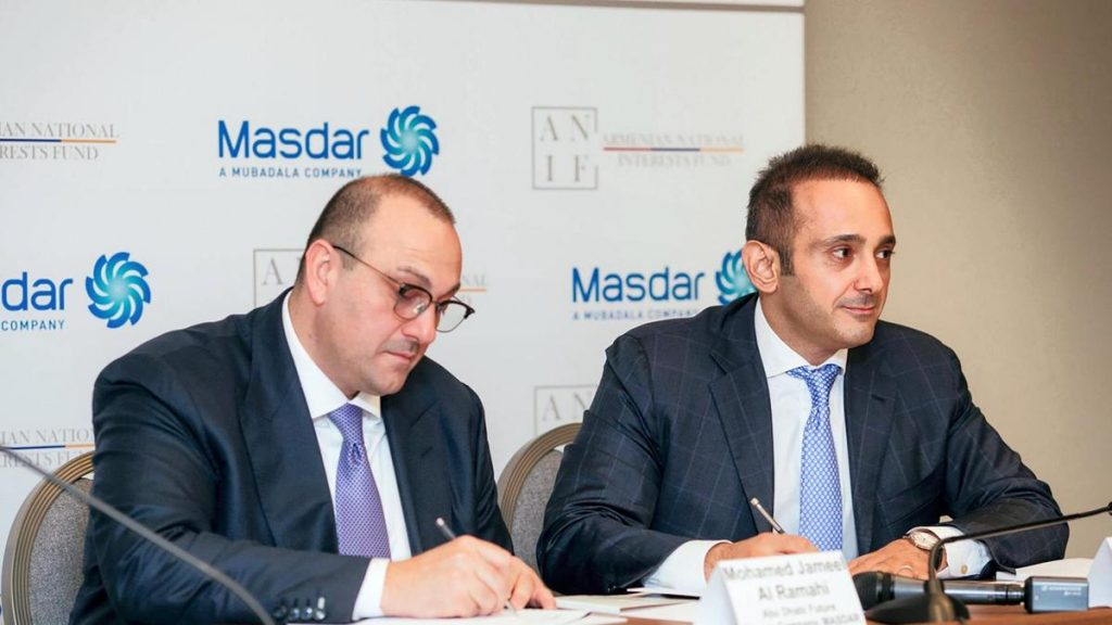 Masdar to pursue renewable energy opportunities in Armenia Bz 13 JUL Masdar renewable energy 1 1024x576